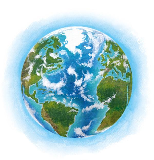 painting of a healty planet Earth.© Elaine Vijaya