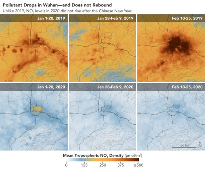 satellite images of air pollution of the Wuhan region in China