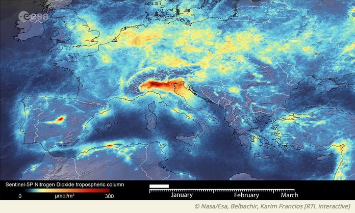 satellite image of air pollution in Europe