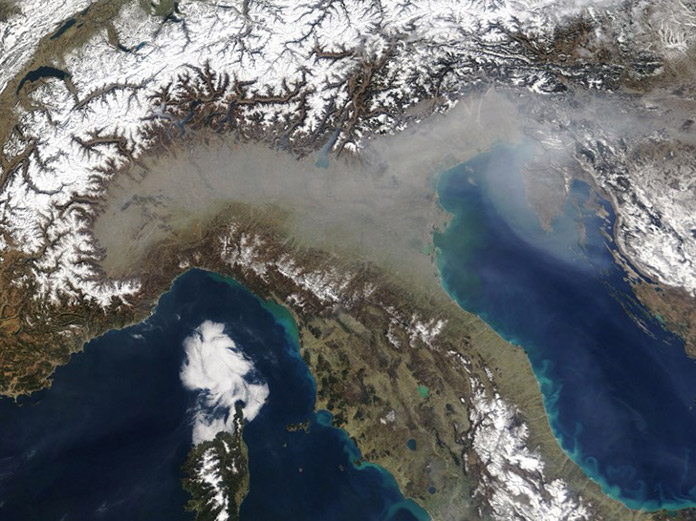 satellite image of air pollution of the Po Valley in northen Italy